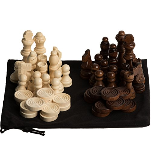 Wood Chess Pieces - GrowUpSmart Staunton Style Chess & Checkers Pieces Set Made Of Wood In Velvet Bag - For Replacement Of Missing Pieces Or If You Only Have A Chess Board