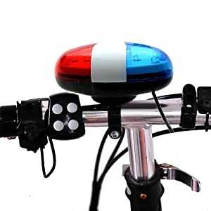 Optimal Shop 6 Bike Bicycle Police LED Light + 4 Loud Siren Sound Trumpet Cycling Horn Bell from Optimal Shop