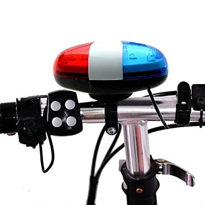 Estiq - Bicycle Police Car 6 LED Light 4 Sounds Trumpet Cycling Horn Bell