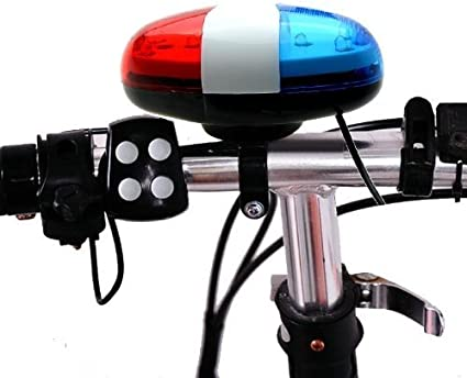 CW/_ 6 LED Bike Bicycle Police Light 4 Loud Siren Sound Trumpet Cycling Horn Be