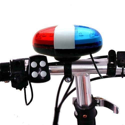 Price comparison product image Optimal Shop 6 Bike Bicycle Police LED Light + 4 Loud Siren Sound Trumpet Cycling Horn Bell