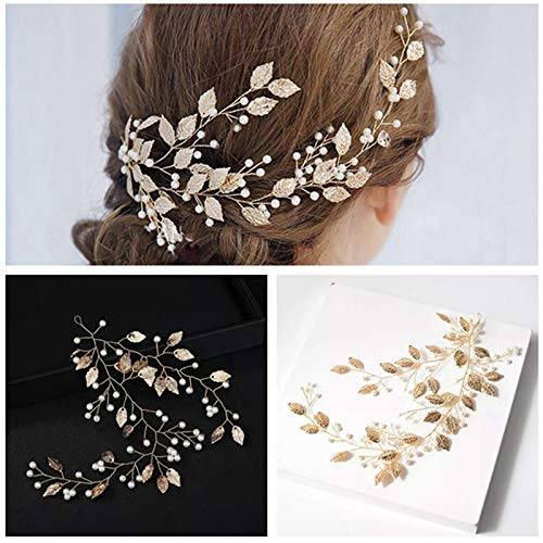 (Wedding Headband Hair Vines, Ideal Swan Bridal Wedding Leaves Jewelry Decorative Gold Wedding Headpiece Long Hair Vine Accessories-Suitable for Brides and Bridesmaids)
