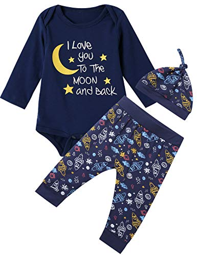 (Baby Boys 3PCS Outfit Set Space Ship to The Moon and Back Romper Long Pants with Hat (Blue03, 6-12)