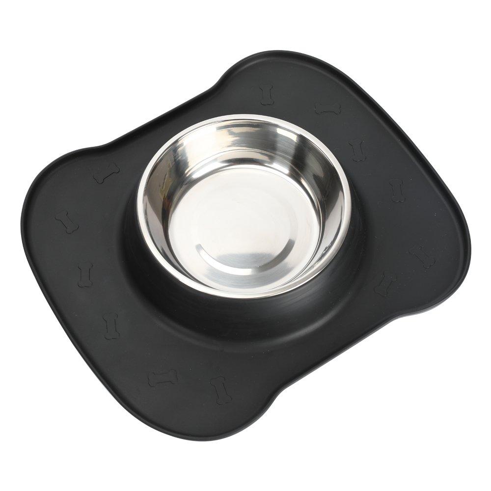 Les vaisselles s?res en gel de silice conviennent aux chiens et chats, y compris un coussin en gel antid¨¦rapant et antidiffluent et un bols en acier Animal familier pm-1202002