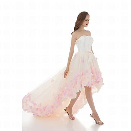 WCZ Vestido de Novia de la Flor del Cordón de la Boda Hombro Blanco Corto de la Novia Antes del Vestido de Boda de la Cola Larga