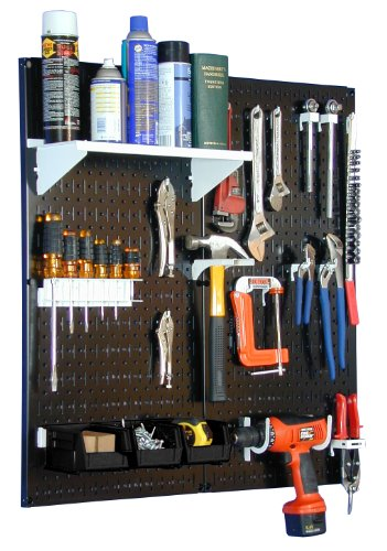 Wall Control Metal Pegboard Utility Tool Storage Kit with Black Pegboard and White - Tool Utility Storage Kit