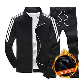 Sun Lorence Men's Athletic Full-zip Fleece Tracksuit Jogging Sweat Suit Activewear Black S