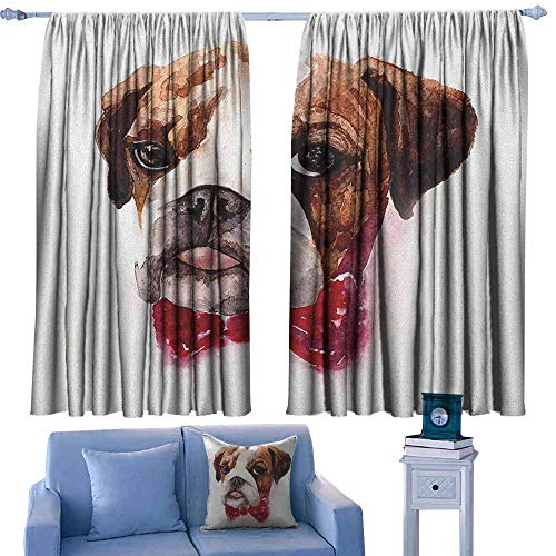 GAAGS Print Window Curtain,English Bulldog Watercolor Dog Portrait with a Bow Tie Design Brush Stroke Effect,Darkening and Thermal Insulating Draperies,W63x45L Inches Brown Ruby ()