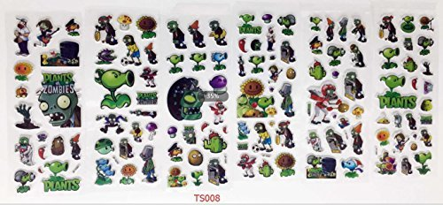 Sticker Lot   3D Children Cartoon Early Learning Bubble Stickers Funny Stickers  Plants Vs Zombies 6Pcs