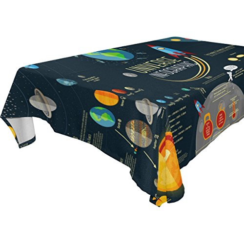 My Little Nest Universe Solar System Planets Comparison Rectangle Tablecloth Washable Polyester Fabric, Picnic Party KitchenDiningHome Decoration Table Cover 60 x 108 inches by My Little Nest