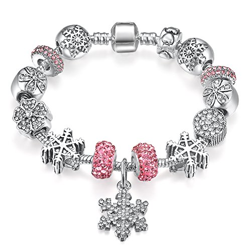 Presentski Fashion Charm Bracelet for Teen Girls and Women with Snowflakes Themed Pink Charms 7.1 Inches