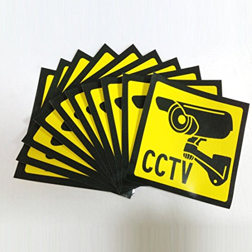 Stickers Signs Warning Decal Surveillance Security Camera Yellow and Black 10 PCS