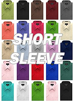 JC DISTRO Men's Regular-Fit Solid Color Short Sleeve Dress Shirts (Big