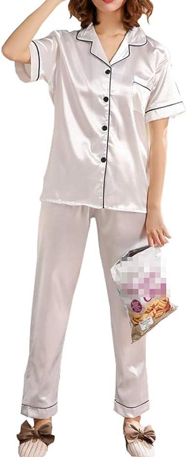 Rojeam Verano de Las Mujeres Pijamas de Seda de Manga Corta de la Ropa de Noche de Raso de 2 Piezas Conjunto de Pijama Loungewear