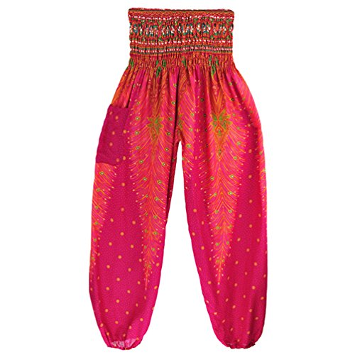 Sentaoa Donna Smocked Waist Yoga Pantaloni Boho Harem Pantaloni di stampa Pilates Pantaloni Danza Stile 2