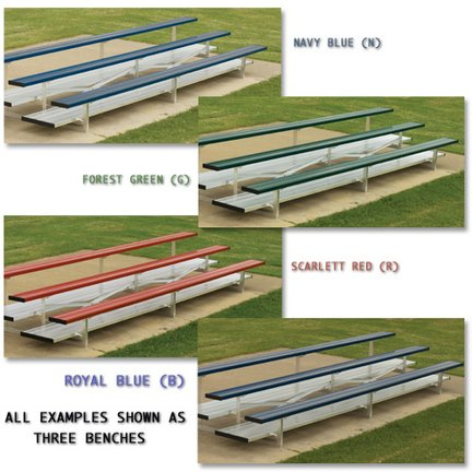 3 Row (42 Seat) 21' Powder Coated Aluminum Bleachers with Double Footboard