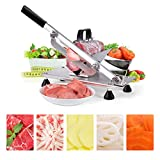 Manual Frozen Meat Slicer, Stainless Steel Meat Cutter Beef Mutton Roll Meat Cheese Food Slicer Vegetable Sheet Slicing Machine for Home Cooking Kit of Hot Pot