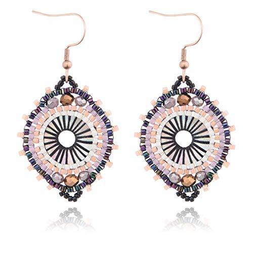 Jane Eyre Boho Dangle Crystal Glass Beaded Earrings for Women Ethnic Handmade Rounded Earrings (White & Multicolor) ()