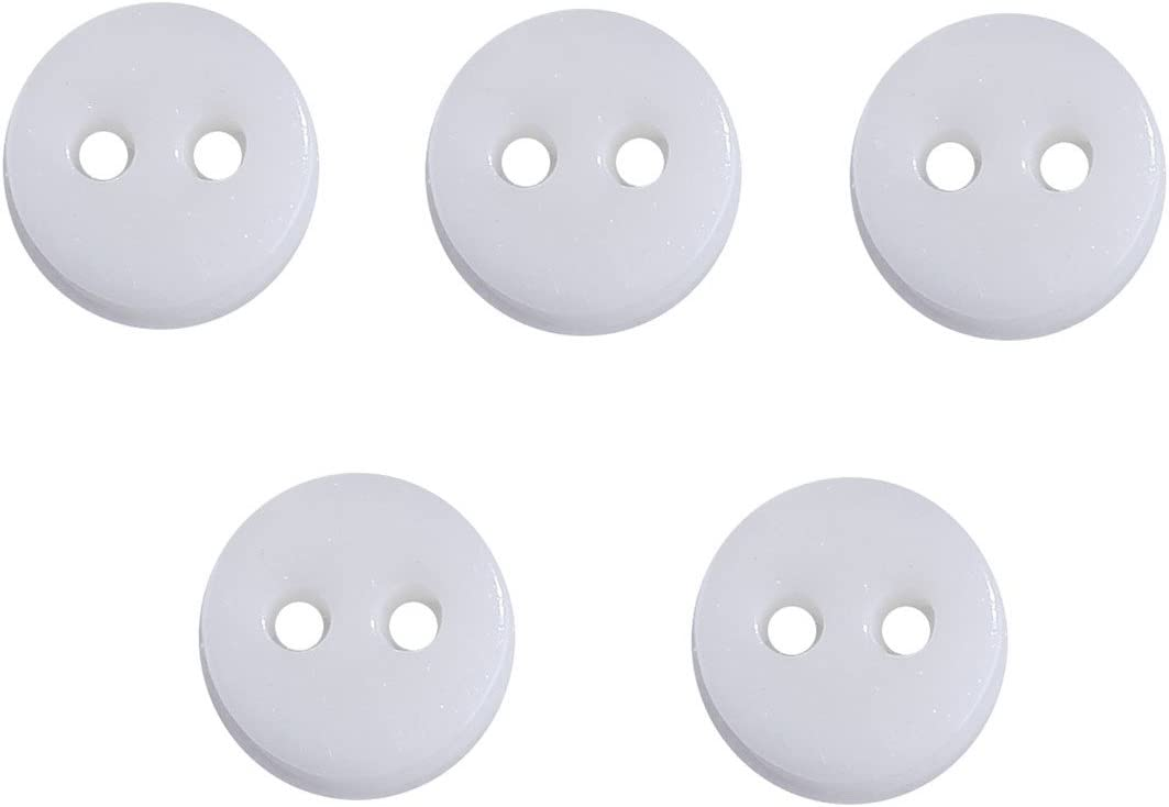 siaura 500Unidades Material acrílico Botones Redondo Blanco, 2Orificios de 1,1mm, diámetro 6mm, Grosor 2,6mm