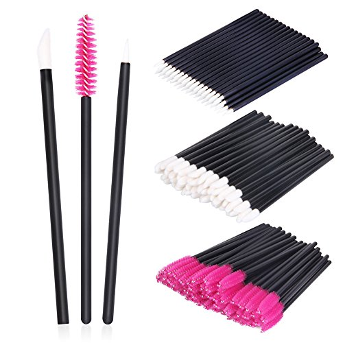 Disposable Makeup Applicators, 150 Pieces SwanMyst Disposable Lipstick Applicators Mascara Wands Eyeliner Brushes Makeup Brush Kit