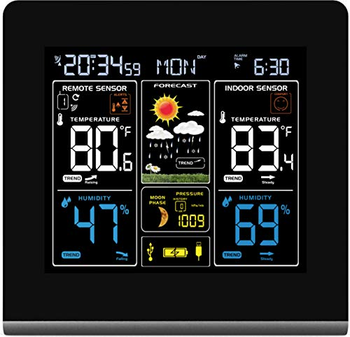 Wall-mountable Wireless Weather Station with Colour High Definition Display, USB Charging Port, Alarms, Weather Forecasting/Temperature Display and Alerts Plus 2 sensors - TG672 from ThinkGizmos