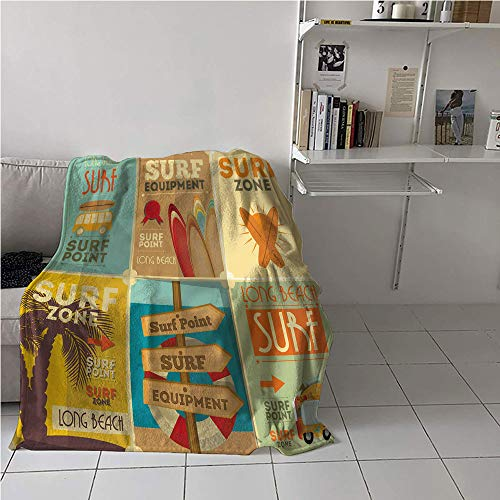 WilliamsDecor Surf Stroller Blanket,Retro Posters Collection Summer Vacation Theme Hobby Water Sports California Beach,Soft Blanket Microfiber,Warm All Season Blanket for 70