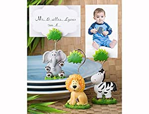 Set of 3 Jungle Critters Collection Place Card Holders, Food Markers, Table Number Holders - Elephant, Lion and Zebra