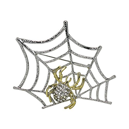 Spider on Web Pin Brooch Bejeweled Gold and Silver Two Tone Large