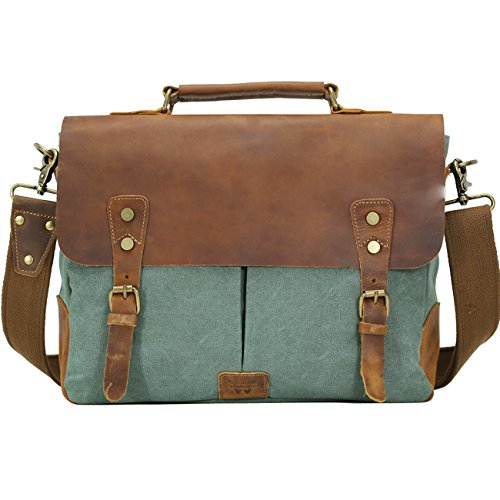 WOWBOX Messenger Bag for Men 14 inch Vintage Leather and Can