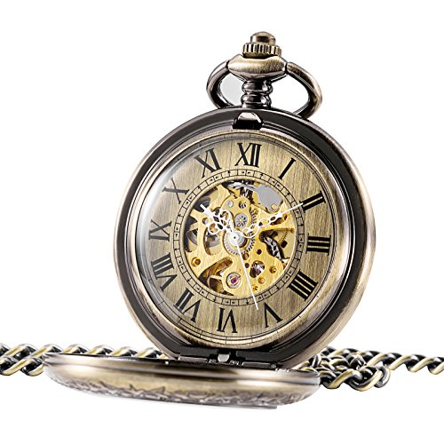 Treeweto Automatic Mechanical Pocket Watch Half Hunter Case Steampunk Skeleton Dial for Men Women