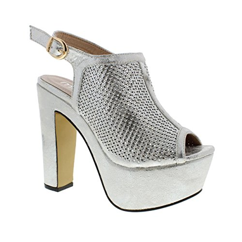 Madden Leather Glittered Rhinestone Silver High Heel Toe Womens w Open Moca 83 Casual Laser Cut Design Faux 08x67Uqw
