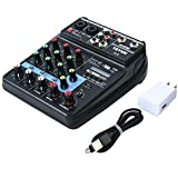 Mini Audio Mixer Sound Board Bluetooth Music Console Power Stereo with Power Cord 4 Channels 48V Amp