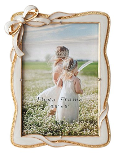 L&T Elegance Metal Picture Frame Gold Plated with Cream White Enamel and Crystals, Bow Ornament, 3.5 by 5 inch