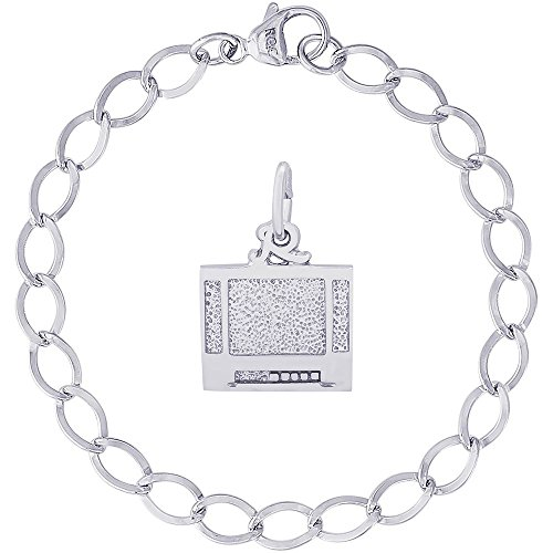 Rembrandt Charms Sterling Silver Flat Screen TV Charm on a Dapped Curb Bracelet, 8