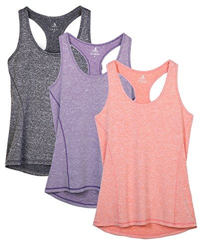 icyzone Activewear Running Workouts Clothes Yoga Racerback Tank Tops for Women (L, Charcoal/Lavender/Peach)