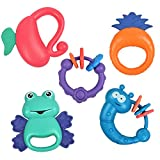 tumama Baby Newborn Rattles Shake and Grap Rattle Toy Animal HandBells for 3-12 Months Infant Boy Girl Gifts with Storage Box Set of 5