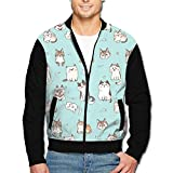 Best  - Roajgas Men Cute Cat Dog Full-Zipper Hoodie Jacket Review