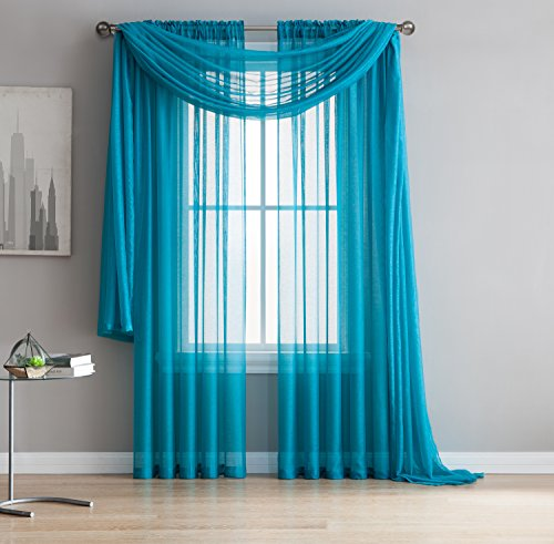 Jane - Rod Pocket Semi-Sheer Curtains - 2 Pieces - Total size 108'W x 84'L - Beautiful, Natural Light Flow, Material, Durable - for Bedroom, Living Room, Kid's Room And Kitchen (Teal)