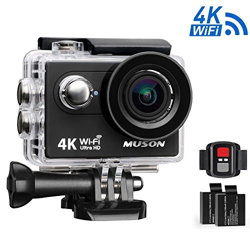 Muson MC2 Action Camera 4K WiFi Sports Camera DV Recorder 2.0'' Screen 12MP 170 Degree Wide Angle 30M Waterproof with 2.4G Remote Control and 19 Accessories Kits (Black)