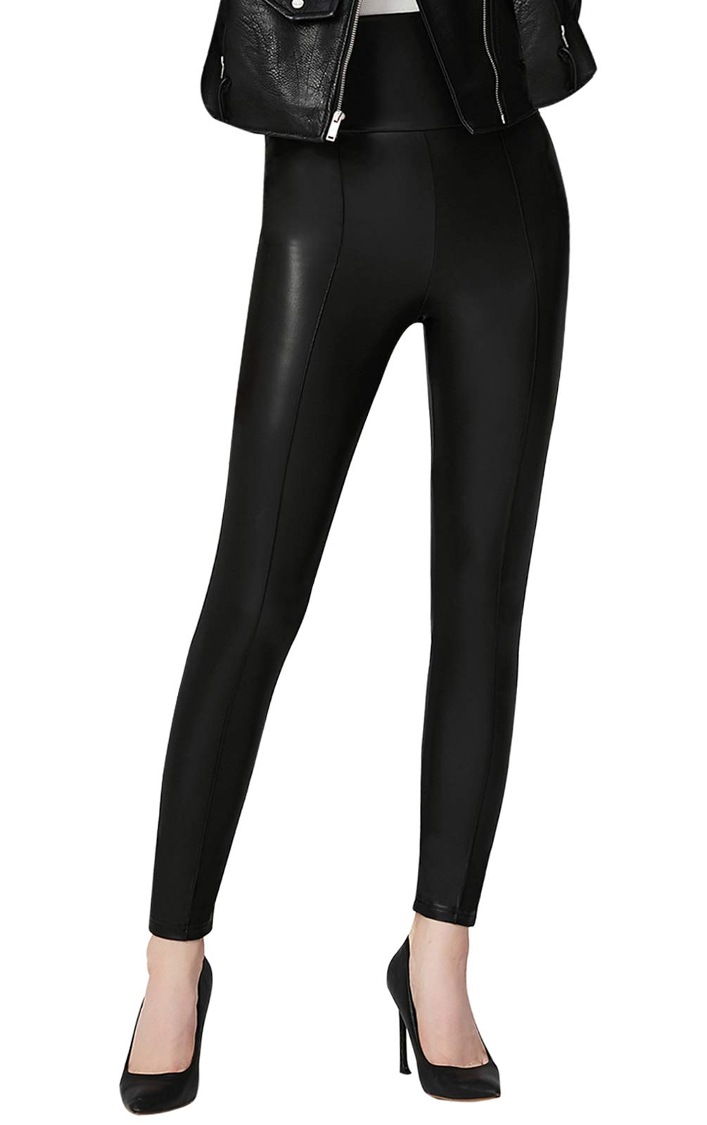Everbellus High Waisted Faux Leather Leggings for Women Sexy Black Leather Pants X-Large by Everbellus (Image #5)