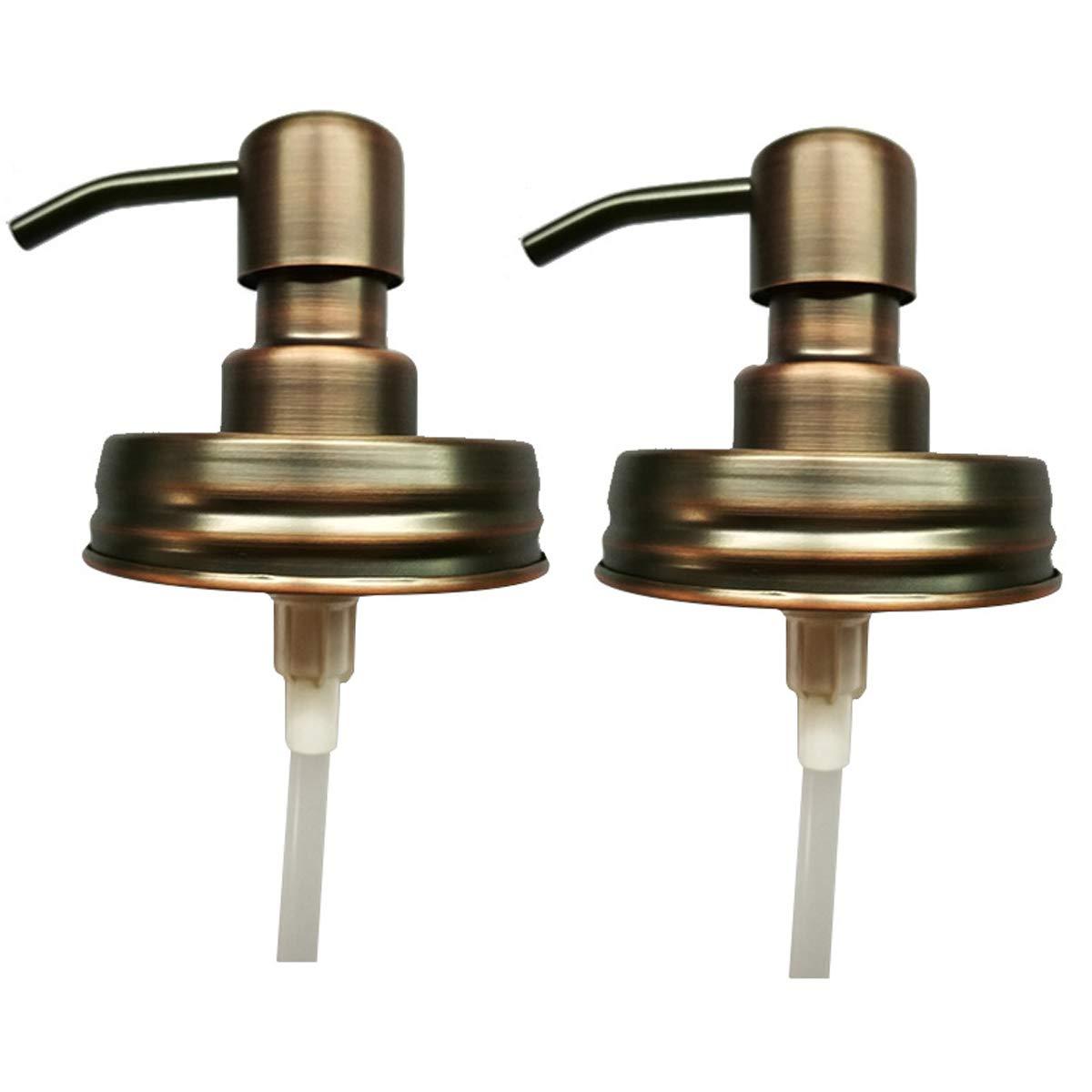 2 Pcs Mason Jar Soap Dispenser - Stainless Steel Rust Proof Rustic Farmhouse Soap Lotion Pumps for Mason Jar(Copper,Jar Not Included)