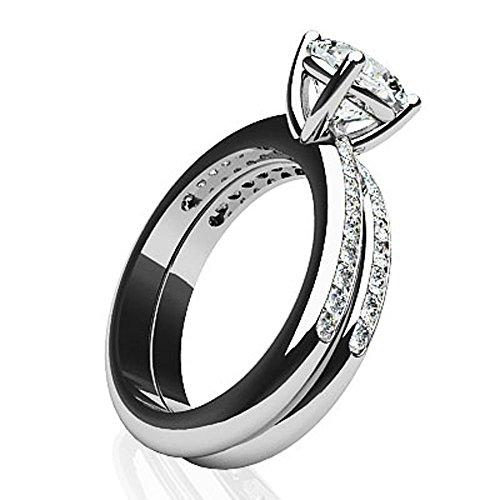 14K Or blanc Joli Coussin Cut de mariage Ensemble
