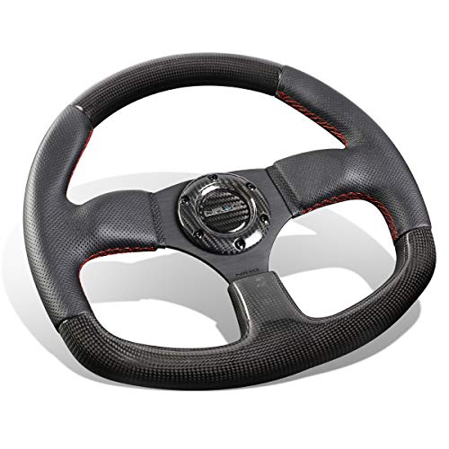 NRG Innovations ST-009CFRS Carbon Fiber Steering Wheel with Red stitching (320mm Flat Bottom)