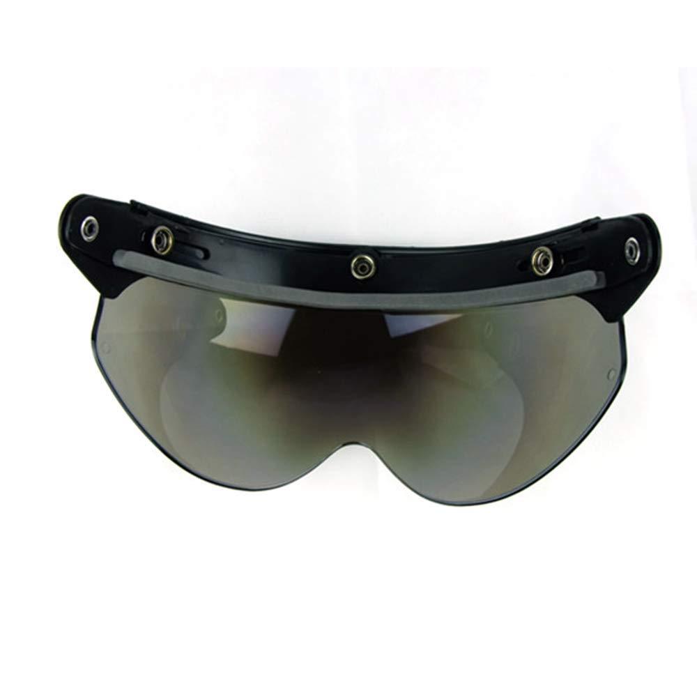 Chrome Silver VCOROS Universal 3-snap Retro Open Face Helmet Visor Windproof Sun Shield Half Face Motorcycle Helmets Visor
