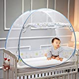 CoutureBridal Baby Crib Tent Safety Net Foldable Pop Up Canopy Cover for Bed Mosquito Net Crib Canopy Netting Blue 120x65