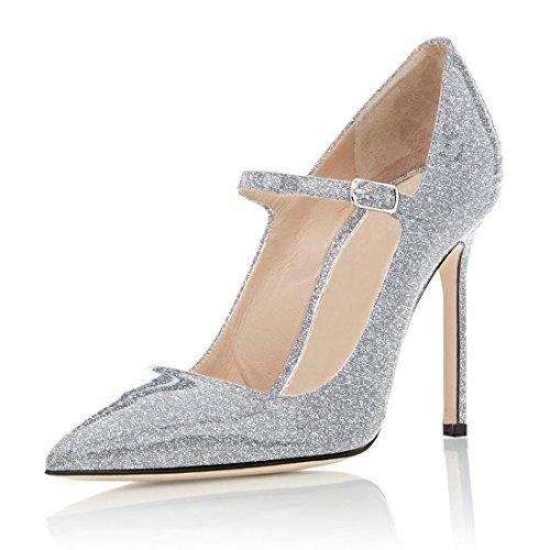 Cinturino Caviglia glitter Col Scarpe Tacco Scarpe Sexy Stiletto Alto Argento Tacco con 4 Alla Soireelady Mary Tacco Jane qf6wCa7x7