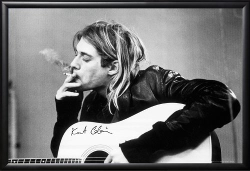 framed-nirvana-frontman-with-a-cigarette-24x36-poster-in-real-wood-premium-matte-black-finish-crafte