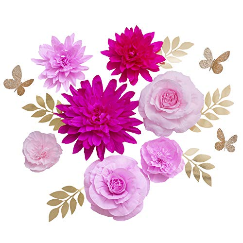 Ling's moment Paper Flower Decorations, Fuchsia & Pink Large Crepe Paper Flowers Set of 7, Handcrafted Rose Dahlia Peony for Wall Wedding Bridal Shower Party Backdrop Baby Nursery Centerpieces