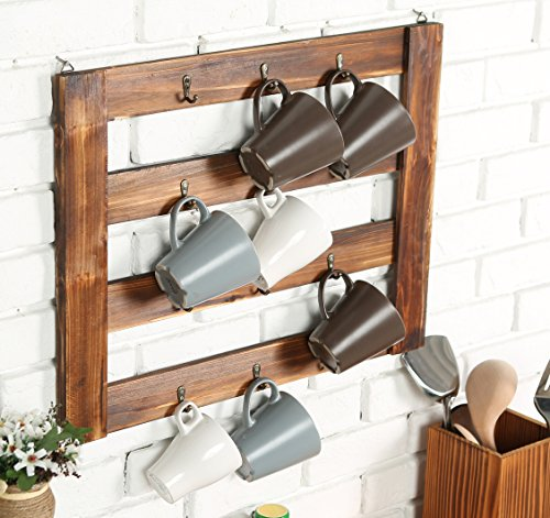 MyGift Rustic Wall Mounted Kitchen Organizer