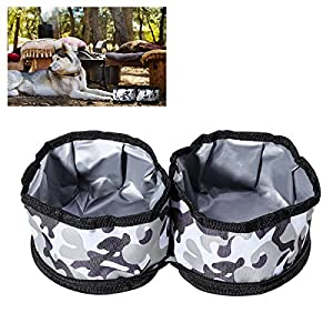 UEETEK Collapsible Dog Bowls Fabric Fold Up Travel Pet Food Water Bowl(Camouflage Color)